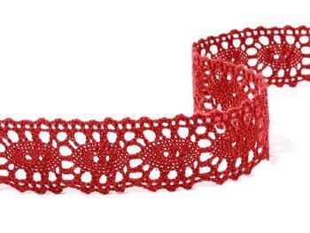 Cotton bobbin lace 75187, width 32 mm, wine - 1
