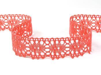 Cotton bobbin lace 75187, width 32 mm, coral - 1