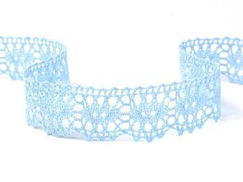 Cotton bobbin lace 75187, width 32 mm, light blue - 1