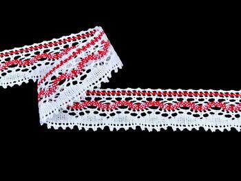 Paličkovaná krajka vzor 75202 bílá/světle červená | 30 m - 1