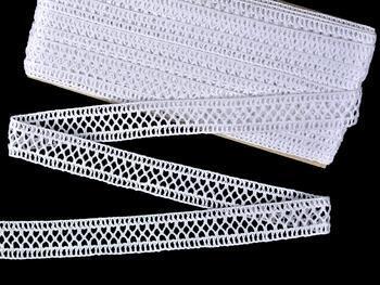 Cotton bobbin lace insert 75205, width27mm, white - 1