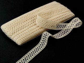 Cotton bobbin lace insert 75205, width27mm, ecru - 1