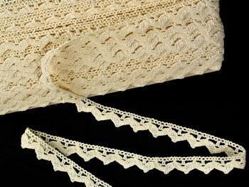 Cotton bobbin lace 75207, width 14 mm, ecru - 1