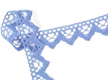Paličkovaná krajka 75220 bavlněná, šířka 33 mm, blank.modrá - 1