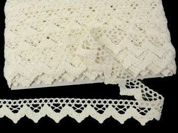 Cotton bobbin lace 75220, width 33 mm, ecru - 1