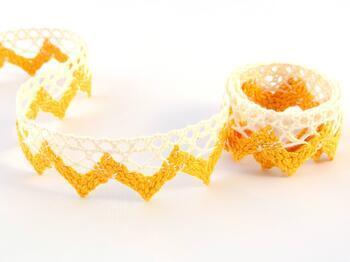 Cotton bobbin lace 75220, width 33 mm, ecru/dark yellow - 1