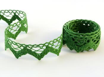 Paličkovaná krajka vzor 75220 trávová zelená | 30 m - 1