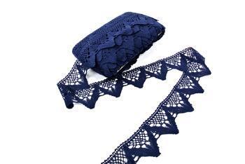 Paličkovaná krajka 75221 bavlněná, šířka 65 mm, modročerná - 1