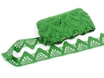 Paličkovaná krajka 75221 bavlněná, šířka 65 mm, trávová zelená - 1