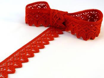 Cotton bobbin lace 75222, width 46 mm, red - 1