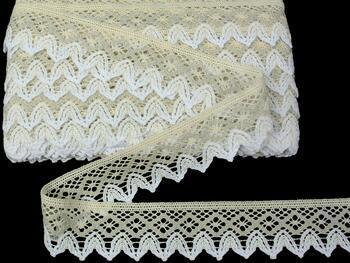 Cotton bobbin lace 75222, width 46 mm, ecru/light linen gray/white - 1