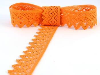 Paličkovaná krajka 75222 bavlněná, šířka 46 mm, sytě oranžová - 1