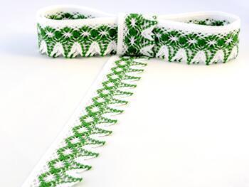 Paličkovaná krajka 75222 bavlněná, šířka 46 mm, bílá/trávová zelená - 1