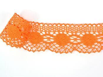 Paličkovaná krajka 75223 bavlněná, šířka 50 mm, sytě oranžová - 1
