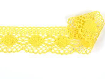Paličkovaná krajka 75223 bavlněná, šířka 50 mm, žlutá - 1