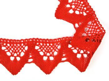 Cotton bobbin lace 75221, width 65 mm, red - 1
