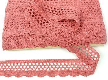 Cotton bobbin lace 75231, width 40 mm, rose - 1