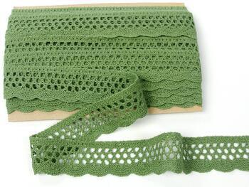 Paličkovaná krajka 75231 bavlněná, šířka 40 mm, zelená olivová - 1
