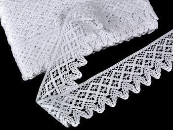 Cotton bobbin lace 75234, width 54 mm, white - 1