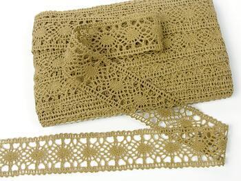 Cotton bobbin lace insert 75235, width43mm, chocolate brown - 1