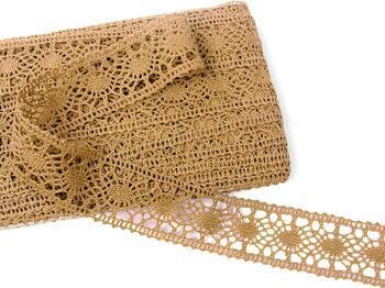 Cotton bobbin lace insert 75235, width43mm, dark beige - 1
