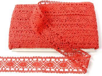 Cotton bobbin lace insert 75235, width43mm, red coral - 1