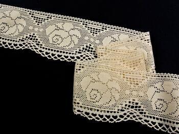 Cotton bobbin lace 75236, width104mm, ecru - 1