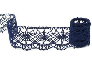 Cotton bobbin lace 75238, width51mm, dark blue - 1