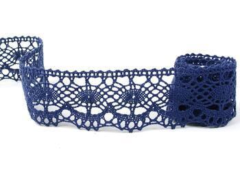Cotton bobbin lace 75238, width51mm, blue - 1