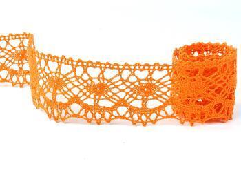 Paličkovaná krajka 75238 bavlněná, šířka51 mm, sytě oranžová - 1