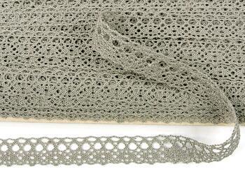 Cotton bobbin lace 75239, width 19 mm, dark linen gray - 1