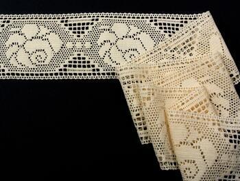 Cotton bobbin lace insert 75242, width97mm, ecru - 1