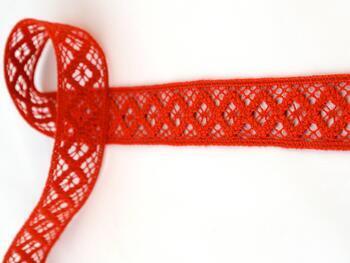 Paličkovaná vsadka 75250 bavlněná, šířka32 mm, červená - 1