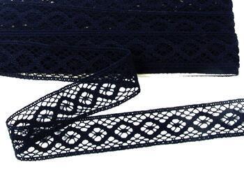 Cotton bobbin lace insert 75250, width31mm, black blue - 1