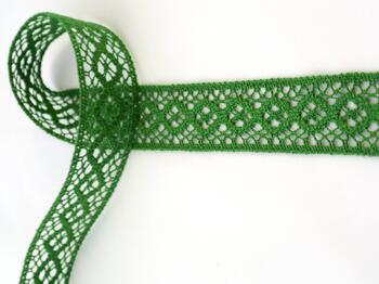 Cotton bobbin lace insert 75250, width31mm, grass green - 1