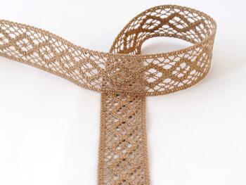 Cotton bobbin lace insert 75250, width31mm, dark beige