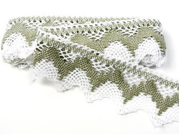 Bobbin lace No. 75256 white/dark linen | 30 m - 1