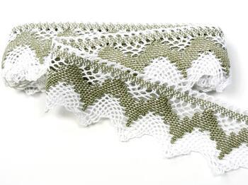 Cotton bobbin lace 75256, width 80 mm, white/dark linen gray - 1