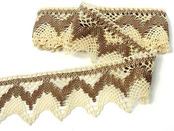 Cotton bobbin lace 75256, width80mm, ecru/dark beige - 1