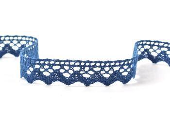 Paličkovaná krajka 75259 bavlněná, šířka17 mm, mořská modrá - 1