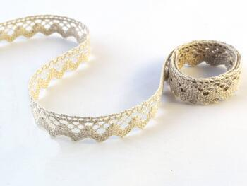 Cotton bobbin lace 75259, width 17 mm, light linen gray