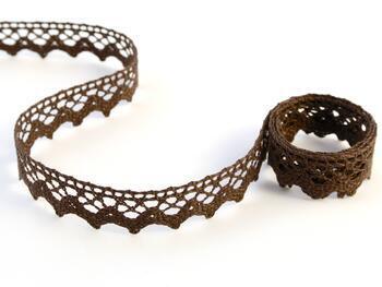 Cotton bobbin lace 75259, width 17 mm, dark brown - 1