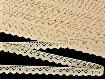 Paličkovaná krajka 75259 bavlněná, šířka17 mm, režná - 1
