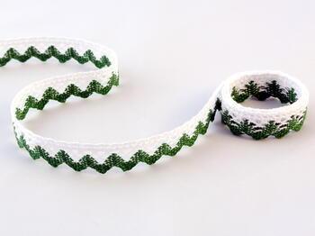 Paličkovaná krajka vzor 75259 bílá/trávová zelená | 30 m