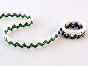 Paličkovaná krajka 75259 bavlněná, šířka17 mm, bílá/trávová zelená - 1