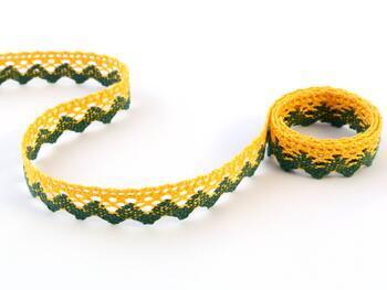 Cotton bobbin lace 75259, width 17 mm, dark yellow/dark green - 1