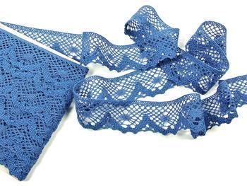 Paličkovaná krajka vzor 75261 mořská modrá | 30 m - 1