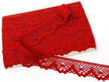 Cotton bobbin lace 75261, width 40 mm, light wine - 1