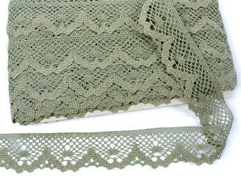 Cotton bobbin lace 75261, width 40 mm, dark linen gray - 1