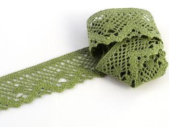 Paličkovaná krajka vzor 75261 zelená olivová | 30 m - 1